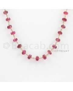 3.80 to 5.30 mm - 1 Line - Tourmaline Faceted Beads Gold Wire Wrap Necklace - 18 inches (GWWCS1029)