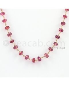 4.00 to 5.50 mm - 1 Line - Tourmaline Faceted Beads Gold Wire Wrap Necklace - 18 inches (GWWCS1030)
