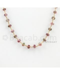 3.80 to 4.80 mm - 1 Line - Tourmaline Faceted Beads Gold Wire Wrap Necklace - 18 inches (GWWCS1032)