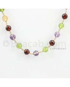 4.50 to 6.00 mm - 1 Line - Rhodolite, Amethyst, Citrine, Peridot, Garnet Faceted Beads Gold Wire Wrap Necklace - 18 inches (GWWCS1033)