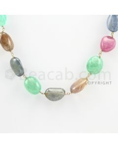 12.00 to 14.50 mm - 1 Line - Multi-Sapphire Tumbled Beads Gold Wire Wrap Necklace - 18 inches (GWWCS1035)