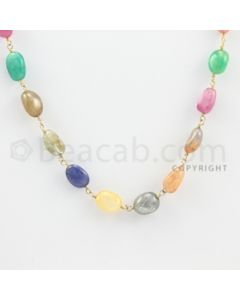 8.00 to 9.00 mm - 1 Line - Multi-Sapphire Tumbled Beads Gold Wire Wrap Necklace - 18 inches (GWWCS1037)