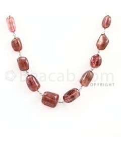 5.50 to 10.00 mm - 1 Line - Tourmaline Tumbled Beads Gold Wire Wrap Necklace - 18 inches (GWWCS1040)