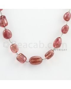 6.00 to 13.00 mm - 1 Line - Tourmaline Tumbled Beads Gold Wire Wrap Necklace - 18 inches (GWWCS1041)