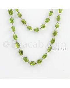 6.50 to 12.50 mm - 1 Line - Peridot Tumbled Beads Gold Wire Wrap Necklace - 40 inches (GWWCS1061)