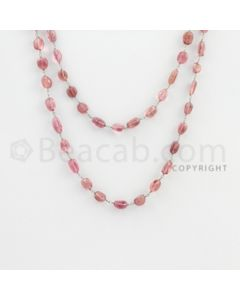 6.50 to 12.20 mm - 1 Line - Tourmaline Tumbled Beads Gold Wire Wrap Necklace - 40 inches (GWWCS1062)