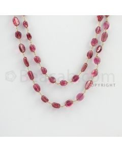 3.50 to 11.00 mm - 1 Line - Tourmaline Tumbled Beads Gold Wire Wrap Necklace - 40 inches (GWWCS1066)