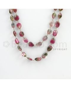 7.00 to 16.00 mm - 1 Line - Watermelon Tourmaline Tumbled Beads Gold Wire Wrap Necklace - 40 inches (GWWCS1067)