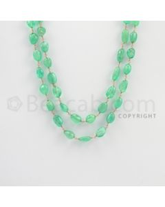 6.50 to 11.00 mm - 1 Line - Emerald Tumbled Beads Gold Wire Wrap Necklace - 40 inches (GWWCS1068)