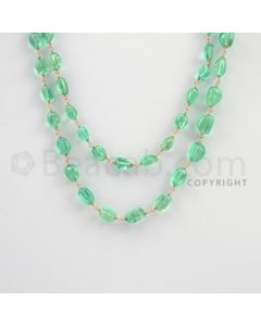 5.50 to 10.50 mm - 1 Line - Emerald Tumbled Beads Gold Wire Wrap Necklace - 40 inches (GWWCS1070)