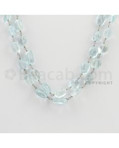 8.00 to 12.00 mm - 1 Line - Aquamarine Tumbled Beads Gold Wire Wrap Necklace - 40 inches (GWWCS1071)