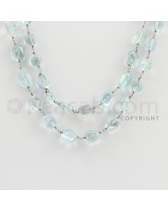 6.00 to 13.00 mm - 1 Line - Aquamarine Tumbled Beads Gold Wire Wrap Necklace - 40 inches (GWWCS1072)