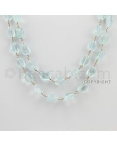 7.50 to 15.50 mm - 1 Line - Aquamarine Tumbled Beads Gold Wire Wrap Necklace - 32 inches (GWWCS1073)