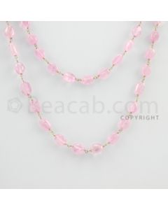 7.00 to 10.00 mm - 1 Line - Pink Sapphire Tumbled Beads Gold Wire Wrap Necklace - 27 inches (GWWCS1075)