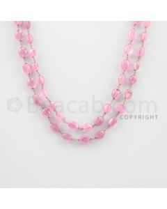 7.00 to 11.50 mm - 1 Line - Pink Sapphire Tumbled Beads Gold Wire Wrap Necklace - 30 inches (GWWCS1076)