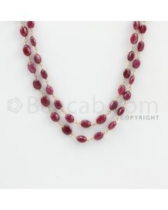 4.00 to 8.000 mm - 1 Line - Ruby Tumbled Beads Gold Wire Wrap Necklace - 40 inches (GWWCS1077)