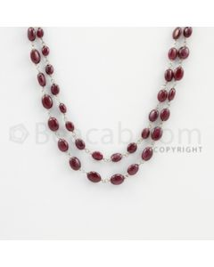 3.00 to 8.00 mm - 1 Line - Ruby Tumbled Beads Gold Wire Wrap Necklace - 40 inches (GWWCS1078)