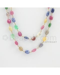 5.00 to 8.00 mm - 1 Line - Emerald, Pink Sapphire, and Multi-Sapphire Tumbled Beads Gold Wire Wrap Necklace - 48 inches (GWWCS1080)