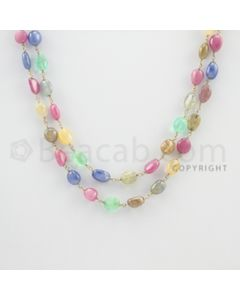 6.50 to 9.00 mm - 1 Line - Emerald, Pink Sapphire, and Multi-Sapphire Tumbled Beads Gold Wire Wrap Necklace - 32 inches (GWWCS1081)