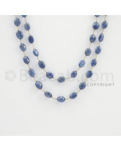 5.00 to 8.00 mm - 1 Line - Sapphire Tumbled Beads Gold Wire Wrap Necklace - 40 inches (GWWCS1082)