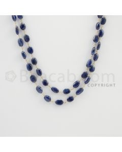 6.00 to 9.50 mm - 1 Line - Sapphire Tumbled Beads Gold Wire Wrap Necklace - 40 inches (GWWCS1083)