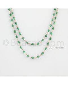 3.00 to 5.00 mm - 1 Line - Emerald Tumbled Beads Gold Wire Wrap Necklace - 40 inches (GWWCS1084)