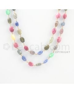 8.00 to 10.50 mm - 1 Line - Emerald, Pink Sapphire, and Multi-Sapphire Faceted Tumbled Beads Gold Wire Wrap Necklace - 40 inches (GWWCS1085)