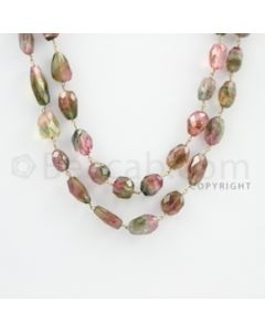 9.00 to 18.00 mm - 1 Line - Watermelon Tourmaline Tumbled Beads Gold Wire Wrap Necklace - 40 inches (GWWCS1086)