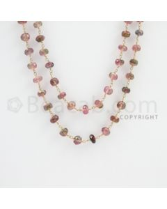 4.50 to 8.00 mm - 1 Line - Watermelon Tourmaline Faceted Beads Gold Wire Wrap Necklace - 50 inches (GWWCS1089)