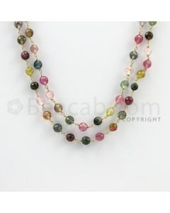 4.20 to 5.00 mm - 1 Line - Multi-Tourmaline Faceted Beads Gold Wire Wrap Necklace - 40 inches (GWWCS1090)