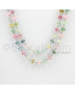 4.00 to 6.50 mm - 1 Line - Tourmaline Faceted Beads Gold Wire Wrap Necklace - 40 inches (GWWCS1093)