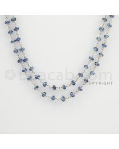 3.00 to 3.50 mm - 1 Line - Blue Sapphire Faceted Beads Gold Wire Wrap Necklace - 40 inches (GWWCS1094)