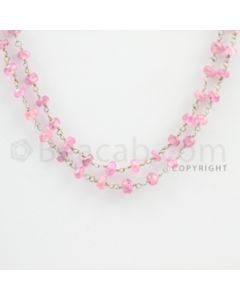 3.20 to 5.00 mm - 1 Line - Pink Sapphire Faceted Beads Gold Wire Wrap Necklace - 40 inches (GWWCS1098)