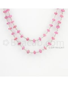 3.00 to 5.00 mm - 1 Line - Pink Sapphire Faceted Beads Gold Wire Wrap Necklace - 40 inches (GWWCS1099)
