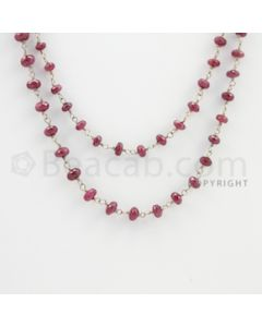 3.20 to 5.60 mm - 1 Line - Ruby Faceted Beads Gold Wire Wrap Necklace - 40 inches (GWWCS1102)