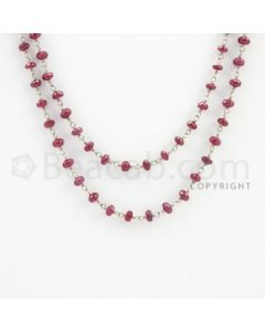 3.00 to 5.40 mm - 1 Line - Ruby Faceted Beads Gold Wire Wrap Necklace - 40 inches (GWWCS1103)