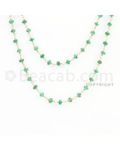 2.90 to 3.60 mm - 1 Line - Emerald Faceted Beads Gold Wire Wrap Necklace - 40 inches (GWWCS1106)