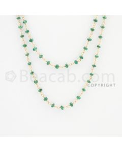 2.70 to 3.00 mm - 1 Line - Emerald Faceted Beads Gold Wire Wrap Necklace - 40 inches (GWWCS1107)