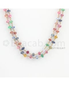 3.20 to 5.50 mm - 1 Line - Emerald, Ruby, and Multi-Sapphire Faceted Beads Gold Wire Wrap Necklace - 40 inches (GWWCS1108)
