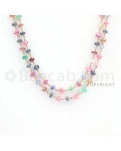 3.40 to 5.40 mm - 1 Line - Emerald, Ruby, and Multi-Sapphire Faceted Beads Gold Wire Wrap Necklace - 40 inches (GWWCS1109)