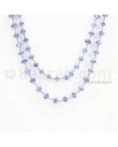 3.60 to 6.50 mm - 1 Line - Tanzanite Faceted Beads Gold Wire Wrap Necklace - 40 inches (GWWCS1110)