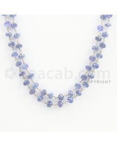 5.00 to 6.00 mm - 1 Line - Tanzanite Faceted Beads Gold Wire Wrap Necklace - 40 inches (GWWCS1111)