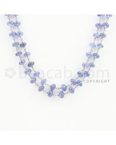 4.60 to 5.60 mm - 1 Line - Tanzanite Smooth Beads Gold Wir
