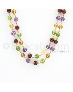 5.00 to 6.00 mm - 1 Line - Peridot, Citrine, Hessonite, Amethyst Faceted Beads Gold Wire Wrap Necklace - 50 inches (GWWCS1115)