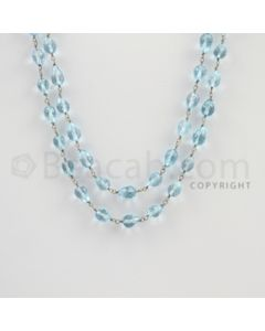 6.80 to 7.00 mm - 1 Line - Blue Topaz Drop Beads Gold Wire Wrap Necklace - 40 inches (GWWCS1117)