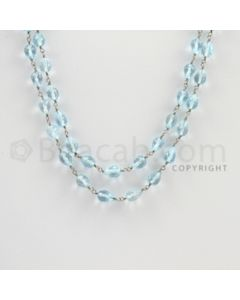 5.50 to 6.50 mm - 1 Line - Blue Topaz Drop Beads Gold Wire Wrap Necklace - 40 inches (GWWCS1118)