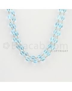 6.20 to 7.00 mm - 1 Line - Blue Topaz Drop Beads Gold Wire Wrap Necklace - 40 inches (GWWCS1119)