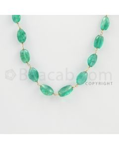 8.00 to 12.00 mm - 1 Line - Emerald Faceted Tumbled Beads Gold Wire Wrap Necklace - 40 inches (GWWCS1122)
