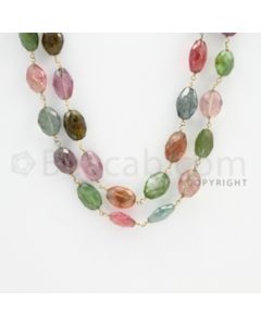 9.00 to 12.00 mm - 1 Line - Multi-Tourmaline Tumbled Beads Gold Wire Wrap Necklace - 40 inches (GWWCS1087)