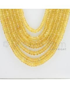 2.60 to 4.20 mm - 7 Lines - Yellow Sapphire Faceted Beads - 20 to 23 inches (YSFB1001)